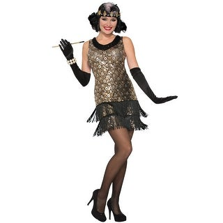 Forum Novelties Sequin Roaring 20s Flapper Adult Costume (M/L) - Gold/Black - Medium/Large