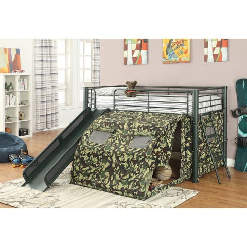 Thayler Army Green Twin Loft Bed with Camouflage Tent