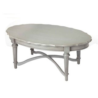 Kendrick Distressed Solid Mahogany Wood Gray Coffee Table - Oval