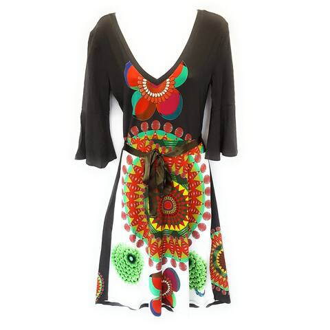 Desigual Payful Patterned with String Tie Dress, Multi, Y