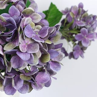 "G Home Collection Luxury Real Touch Hydrangea Stem in Purple 24"" Tall"