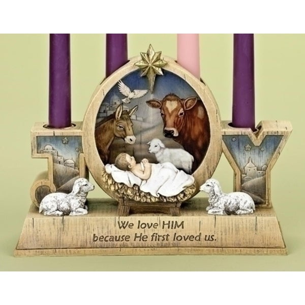 """9.25"""" Subtle Colored """"Joy"""" Baby Jesus Christmas Advent Taper Candle Holder - brown"""