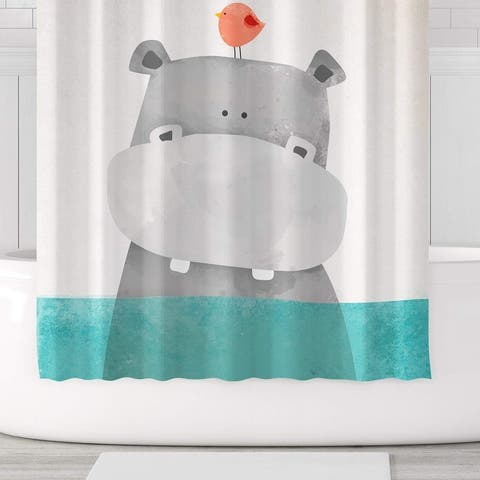 Cute Hippo Shower Curtain Polyester Fabric with Hooks 71x71 Green Grey - Multi-Color