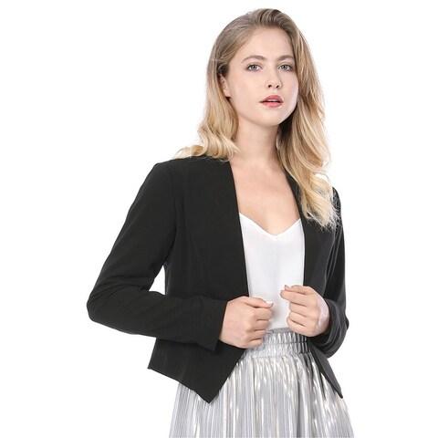 Allegra K Women Collarless Work Office Business Casual Cropped Blazer