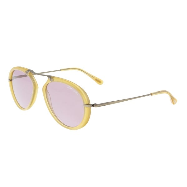 5ad41723369eb Shop Tom Ford FT0473 39Y AARON Yellow Aviator Sunglasses - 58-17-145 ...