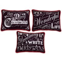 Pack of 3 Black and White Rectangular Chalkboard Pillows 14""