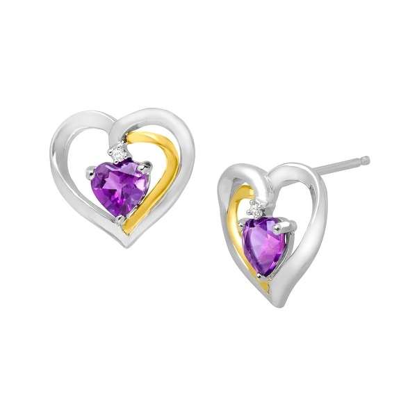 7/8 ct Amethyst Stud Earrings with Diamonds in Sterling Silver & 14K Gold