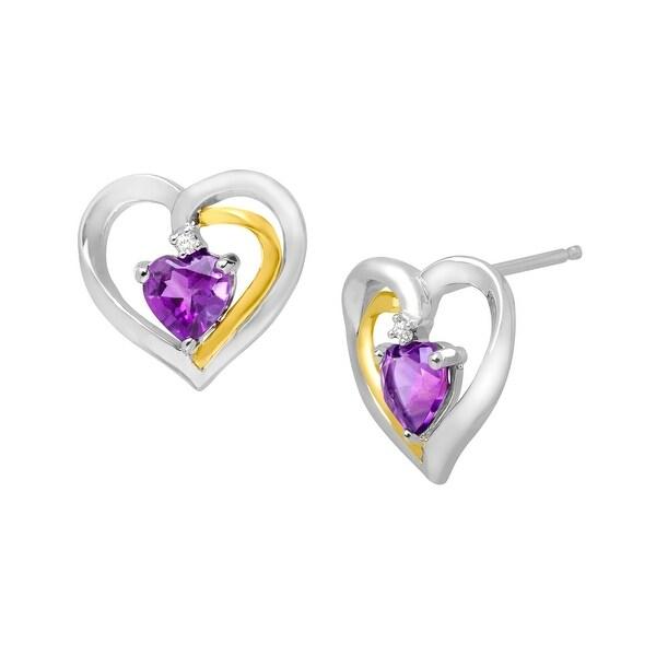 7/8 ct Amethyst Stud Earrings with Diamonds in Sterling Silver & 14K Gold - Purple