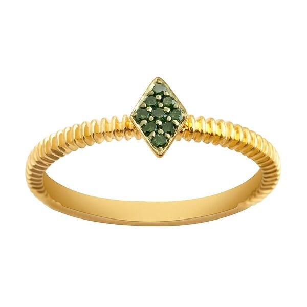 Prism Jewel 0.06Ct Round Green Diamond Stylist Ring