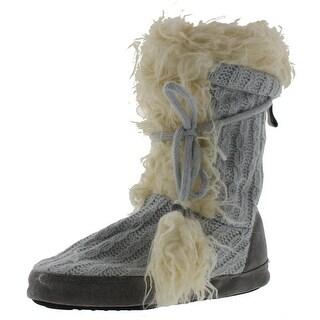 Muk Luks Womens Jewel KNit Faux Fur Bootie Slippers