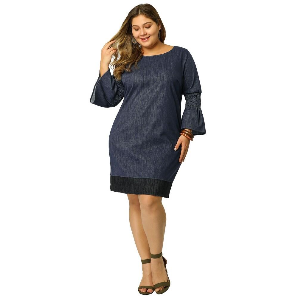 Womens Shift Dress Plus Size Loose Smock Chambray Denim Dresses - Blue