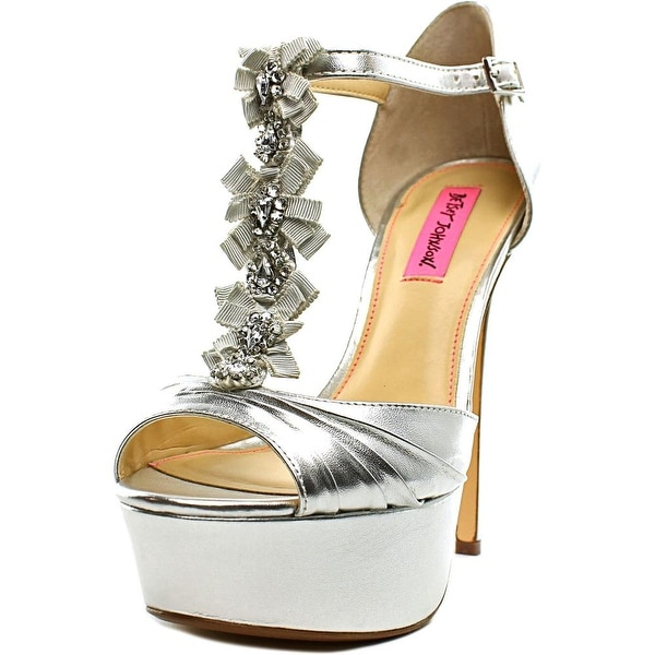 Betsey Johnson Elizabth Women Peep-Toe Canvas Heels