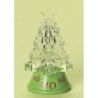 "3.75"" Ho Ho Ho LED Lighted Color Changing Glittered Christmas Tree"