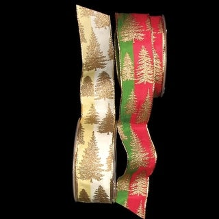 """Trees on Two Tone Ivory Wired Craft Ribbon 1.5"""" x 54 Yards"""