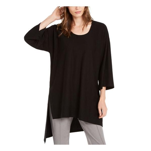 EILEEN FISHER Womens Black 3/4 Sleeve Scoop Neck Top Size XS