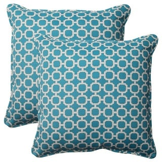Set of 2 Moroccan Mosaic Blue Outdoor Furniture Square Throw Pillows 18.5""