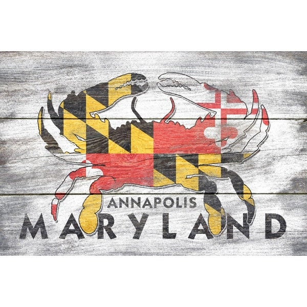 53a42bcea3995 Annapolis, Maryland - Crab - Rustic State Flag - Lantern Press Artwork (Art  Print - Multiple Sizes Available) - 9 x 12 Art Print