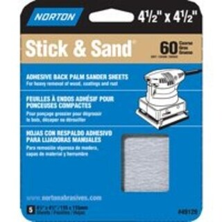 "Norton 07660705453 Stick & Sand Sheet, 4-1/2"" x 4-1/2"", 60 Grit"
