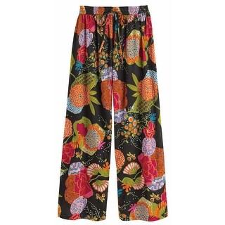 Women's Techni-Color Floral Black Pajama Bottom Lounge Pants