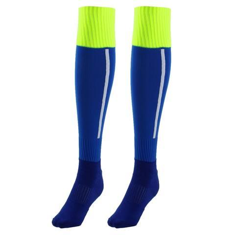 Men Sport Nylon Knee High Elastic Cuffs Baseball Football Soccer Long Socks Blue Pair - Blue, Fluorescent Green, White