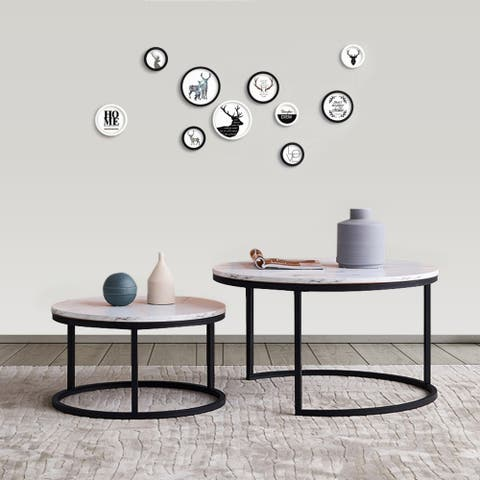 Modern Nesting Coffee Table,Black Metal Frame with Marble Color