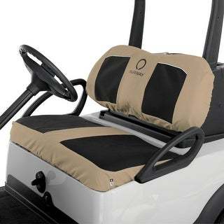 Fairway Golf Cart Neoprene Panel Bench Seat Cover-Blck/Khaki - 40-034-015801-00