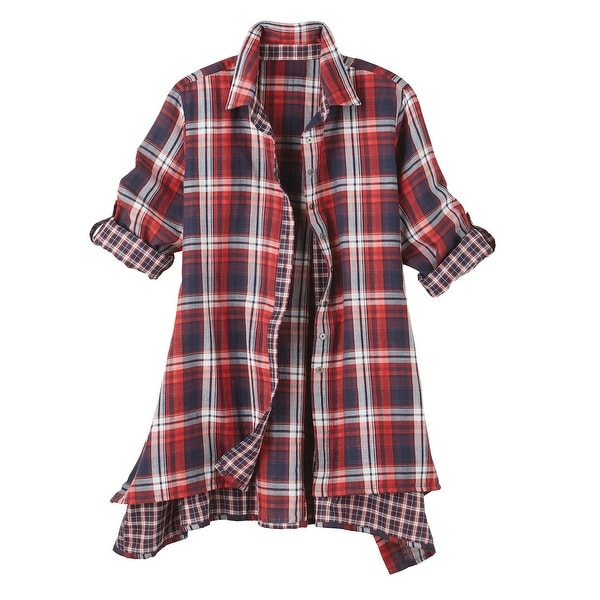 b7077ae9379d1 ... canada Source · Shop Women s Tunic Top Button Down Plaid Shirt Long  Sleeve On