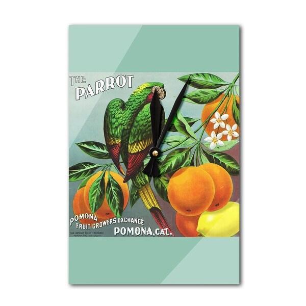 Pomona, CA - The Parrot Citrus - Vintage Label (Acrylic Wall Clock) - acrylic wall clock
