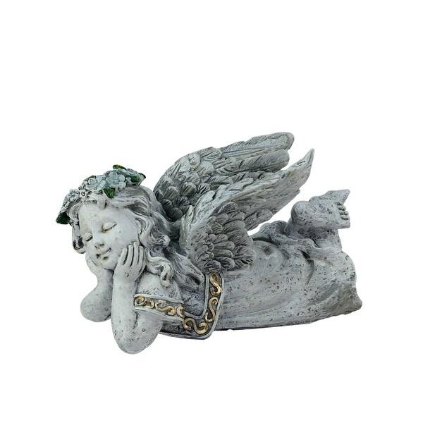 "7.5"" Heavenly Gardens Distressed Gray Daydreaming Cherub Angel Outdoor Patio Garden Statue"