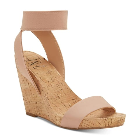 INC International Concepts Womens Leanira Leather Open Toe Casual Ankle Strap Sandals