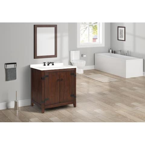 """Nathalie 31"""" Cherry Brown Single Bathroom Vanity"""