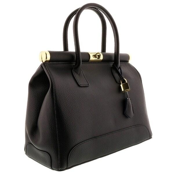 HS8005 NR MINERVA Black Leather Satchel/Shoulder Bag