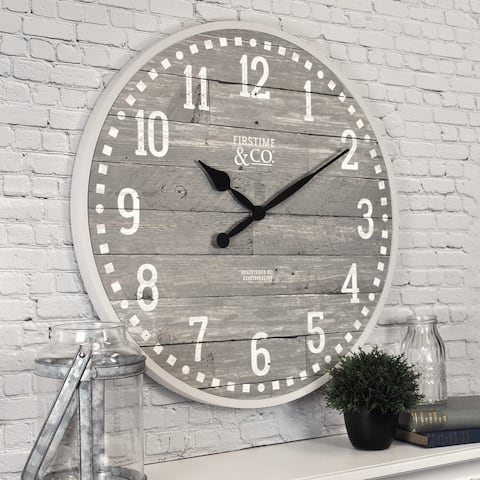 FirsTime & Co.® Arlo Gray Farmhouse Wall Clock, American Crafted, Light Gray, Plastic, 20 x 2 x 20 in - 20 x 2 x 20 in