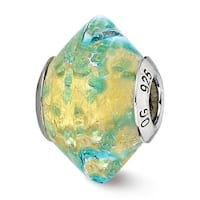 Italian Sterling Silver Reflections Yellowith Teal Glass Bead (4mm Diameter Hole)