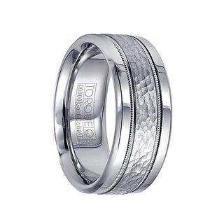 Men's Cobalt Hammered 14k White Gold Inlay & Milgrain Wedding Band by Crown Ring - 9mm