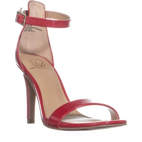 MG35 Blaire6 Slim Heel Ankle Strap Sandals, Red