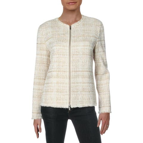 Lafayette 148 New York Womens Dash Blazer Metallic Linen Blend - Gesso Multi