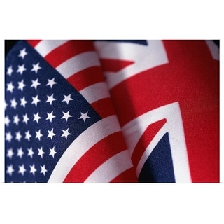 """""""Flags of United Kingdom and United States of America"""" Poster Print"""