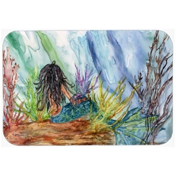 Carolines Treasures 8974CMT Black Haired Mermaid Water Fantasy Kitchen or Bath Mat 20 x 30 in.