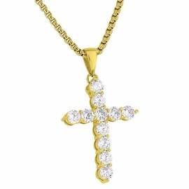 Cross Pendant Mens Designer Solitaire Simulated Diamonds 18K Gold Finish Free Stainless Steel Box Chain