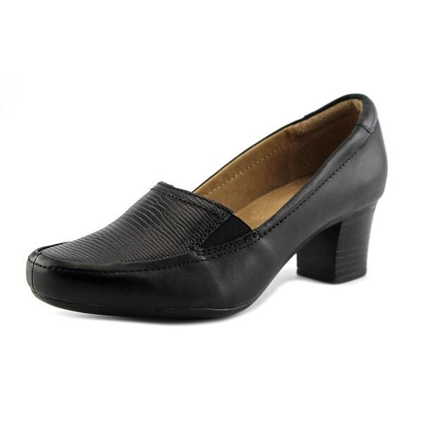 Walksmart Olivia Women W Round Toe Leather Black Heels