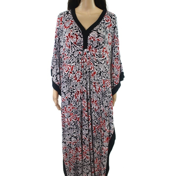 7c45580361e8 Shop Ellen Tracy NEW Red Womens Size Large L Printed V-Neck Maxi ...