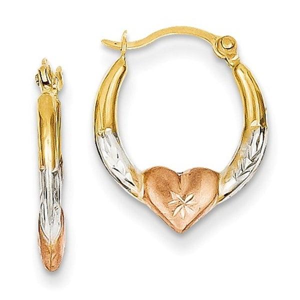 14k Tri Colored Gold 3mm Madi K Heart Hoop Earrings