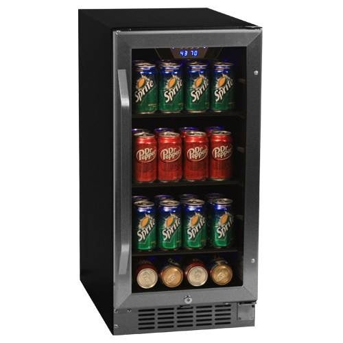 EdgeStar CBR901SG 15 Inch Wide 80 Can Built-In Beverage Cooler with Blue LED Lighting