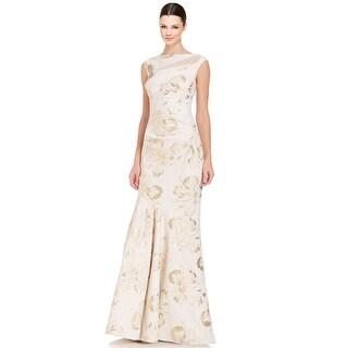 Teri Jon Beaded Shoulder Sleeveless Mermaid Evening Gown Dress Ivory
