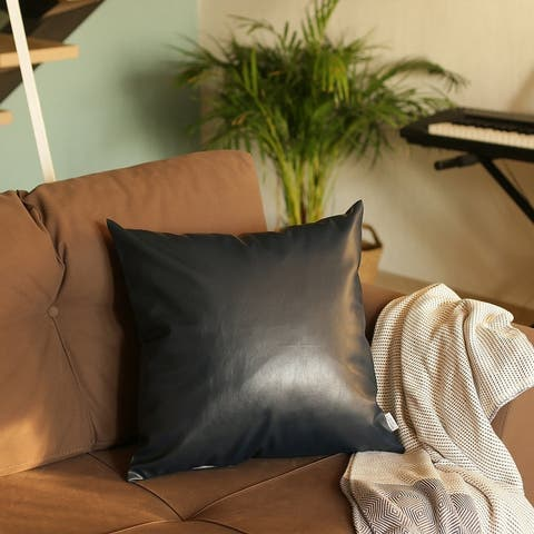 The Curated Nomad Baywood Faux Leather Pillow Cover