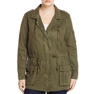 Lucky Brand Womens Plus Military Jacket Woven Pleated - 2x