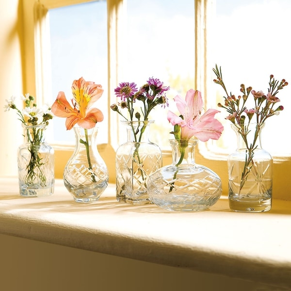 Shop Small Cut Glass Vases In Differing Unique Shapes Set Of Five