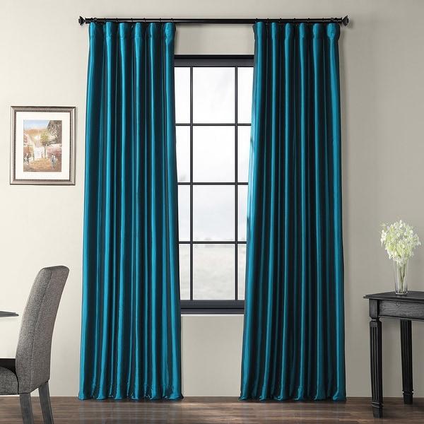 Exclusive Fabrics Solid Faux Silk Taffeta Mediterranean Curtain Panel. Opens flyout.