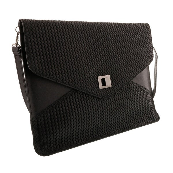 HS1154 NR FULVIA Black Leather Clutch/Shoulder Bag - 15-10-1
